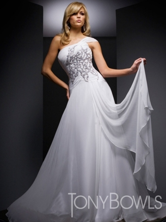 Prima Ballerina Ball Gown in Elegant White Chiffon by Tony Bowls