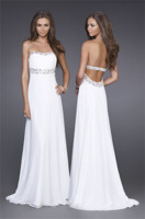 Strapless Ruched Gown With Jewel Trim by La Femme